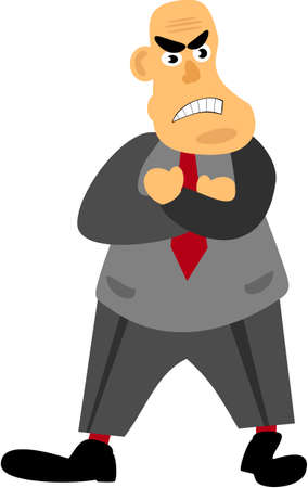angry businessman: illustration of angry businessman with folded arms