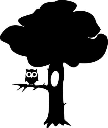 illustration of contour tree with owl Vector
