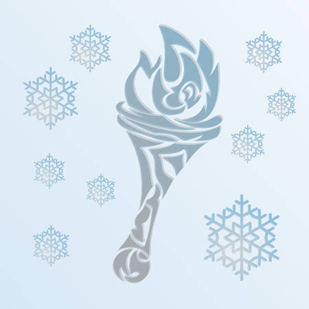 Vector illustration Abstract Decorative Christmas Background, fire torch, snowflakes. Vector
