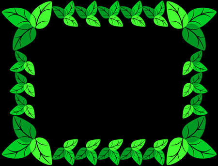 greenness: Green leaves frame isolated on black background