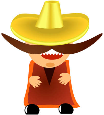 character traits: vector illustration of mexican in sombrero with a big mustache