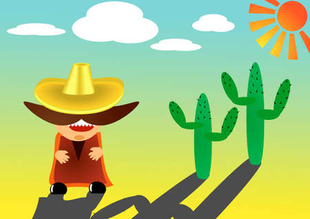 handcarves: vector illustration of mexican in sombrero with a big mustache
