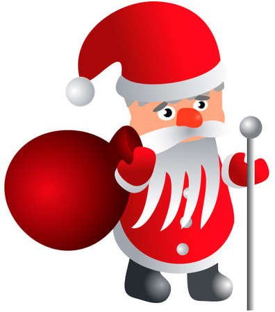 oldman: Santa Claus with a bag and a staff - vector