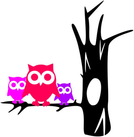 illustration of contour tree with owls Vector