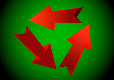 red arrows: Three red arrows. Vector illustration.