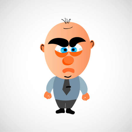 bald head: Funny vector cartoon businessman. Big bald head and cute eyebrows. On white background. Angry, fist, face. Illustration