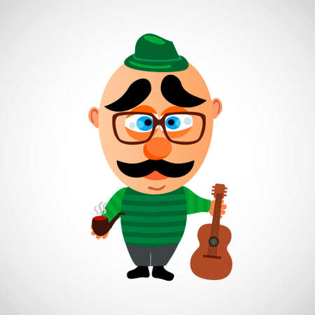 peace pipe: Funny vector cartoon hipster. Big bald head and cute eyebrows. On white background.