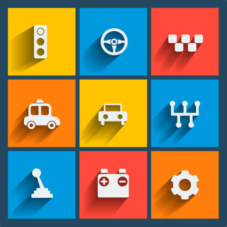 gear handle: Set of 9 cars vector web and mobile icons in flat design. Symbols of gear, gearbox, traffic light, steering wheel, cars, battery, handle.