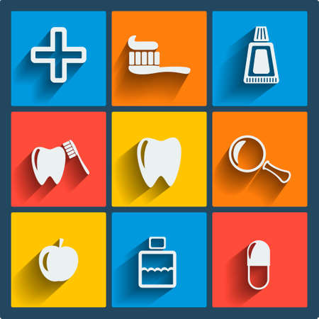 Set of 9 vector dental web and mobile icons in flat design. Symbols of medical cross, rinse teeth, tooth, apple, pill Vector