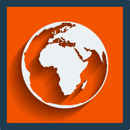 icon vector: Earth planet globe web and mobile icon in flat design with long shadow. Vector. Illustration