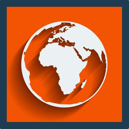 mapa de africa: Planeta Tierra mundo web y el icono móvil en diseño plano con una larga sombra. Vector. Vectores