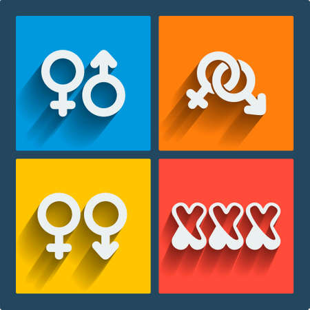 nude man: Set of 4 vector web and mobile gender icons in flat design. Symbols of man, woman, male, female, boy, girl, couple, xxx