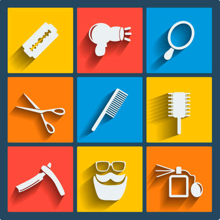 scissors comb: Set of 9 hairdress vector web and mobile icons in flat design. Symbols of shaver, razor, blade, scissors, comb, glasses, mustache