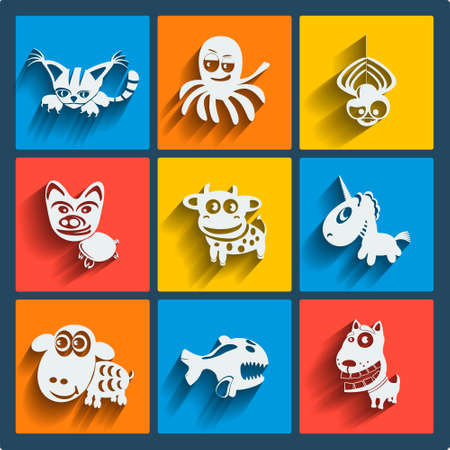 Set of 9 vector web and mobile animals icons in flat design. Symbols of cat, dog, octopus, spider, pig, cow, unicorn, sheep, fish Vector
