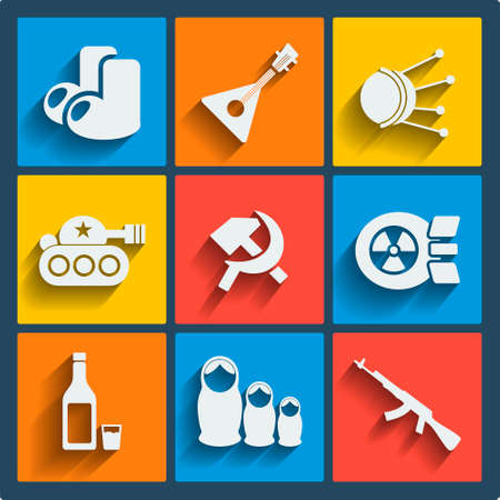 sputnik: Set of 9 vector russia web and mobile icons in flat design. Symbols of felt boots, balalaika, satellite, sputnik, tank, hammer and sickle, nuke, vodka, matrioshka, ak