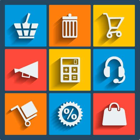 mobile headset: Set of 9 vector web and mobile icons in flat design. Symbols of basket, cart, bin, speaker, calculator, headset, dolly, discount, handbag Illustration
