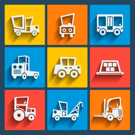 Set of 9 cars vector web and mobile icons in flat design. Symbols of taxi, sedan, truck, lory, pickup, loader, tractor, evacuator Vector