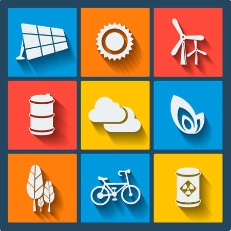 solar cell: Set of 9 ecology vector web and mobile icons in flat design. Symbols of sun, cloud, trees, bicycle, barrel, leaf, solar cell, wind turbine