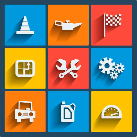gearbox: Set of 9 cars vector web and mobile icons in flat design. Symbols of gearbox, gps, speedometer, cars, battery, handle.