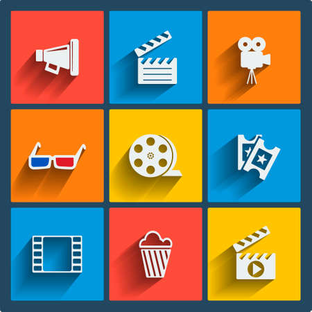 Set of 9 cinema vector web and mobile icons in flat design. Symbols of loudspeaker, clapboard, camera, 3d glasses, reel, ticket, popcorn. Vector
