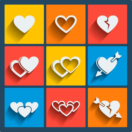 love pic: Set of 9 hearts vector web and mobile icons in flat design.
