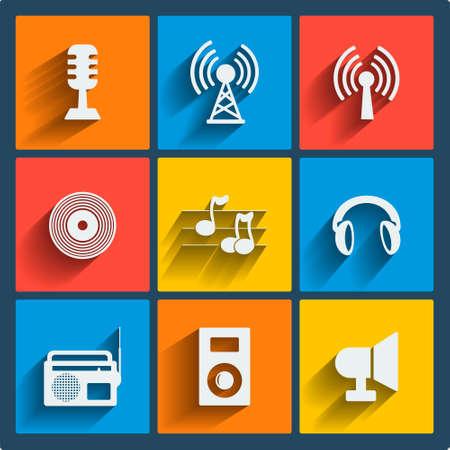 9 音楽ベクトル ウェブとフラットなデザインの携帯電話のアイコンのセットです。