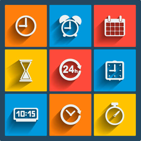 Set of 9 vector time web and mobile icons in flat design. Vector