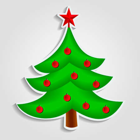 ball chains: Christmas tree with red star vector image in flat design