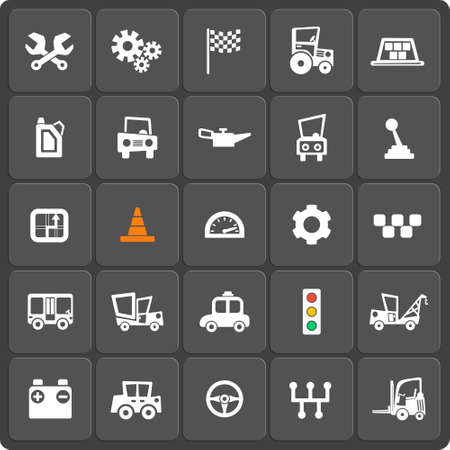 gear handle: Set of 25 cars vector web and mobile icons. Symbols of gear, gearbox, traffic light, steering wheel, cars, battery, handle.