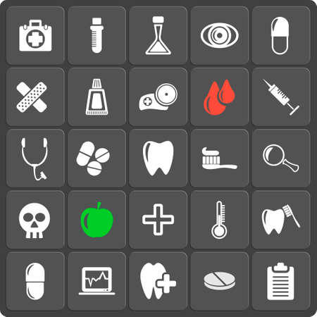 lens brush: Set of 25 vector medicine and dental web and mobile icons in flat design. Symbols of medical cross, rinse teeth, tooth, apple, pill and other
