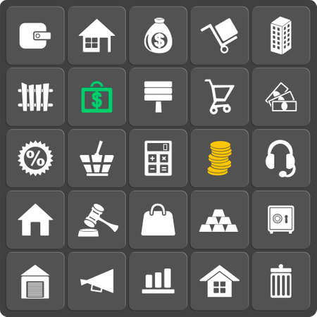 dolly bag: Set of 25 vector money web and mobile icons in flat design. Real estate business concept. Illustration