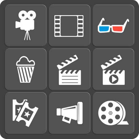 clapboard: Set of 9 cinema vector web and mobile icons in flat design. Symbols of loudspeaker, clapboard, camera, 3d glasses, reel, ticket, popcorn.