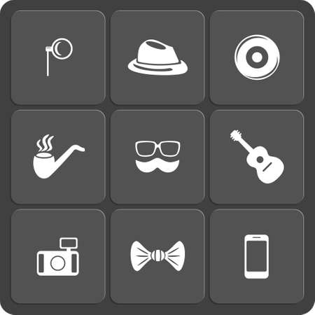 Hipster Web And Mobile Icons Set Vector Symbols Of Pipe Camera