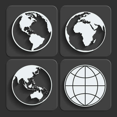 Set of earth planet globe web and mobile icons in flat design with long shadow. Vector.