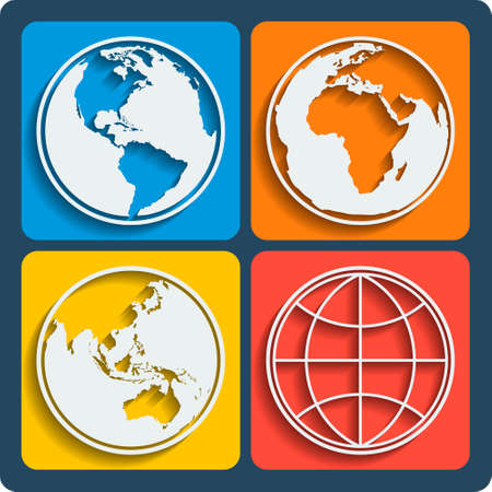 Set of 4 earth planet globe web and mobile icons in flat design with long shadow. Vector.