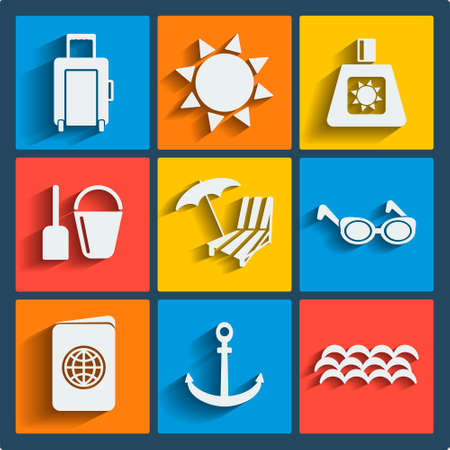 Set of 9 summer vector web and mobile icons in flat design. Symbols of suitcase on wheels, sun, sunscreen, shovel, pail, umbrella, sunbed, sunglasses, passport, anchor, sea wave Vector