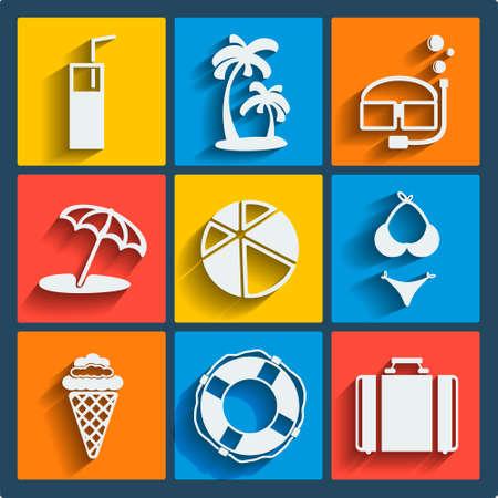 Set van 9 summer vector web en mobiele pictogrammen in plat design. Symbolen van de koffer, paraplu, palmen, cocktail, drank, glas, bal, ijs, reddingsboei, zwembroek, masker, snorkel