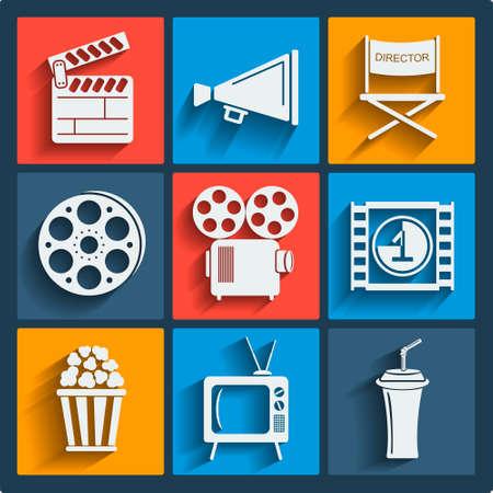 folding screens: Set of 9 cinema vector web and mobile icons in flat design. Symbols of loudspeaker, clapboard, camera, reel, popcorn, frame. Illustration