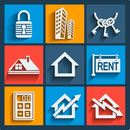 pictogramm: Set of 9 vector real estate web and mobile icons in flat design. Illustration