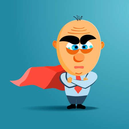 vigilante: Brave superhero businessman with red cloak. Vector. Business, challenge concept