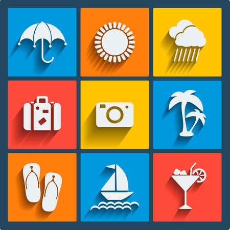 sonnenschirm: Set von 9 sommer vektor Web-und Mobile-Icons in flacher Bauform. Symbole der Koffer, Sonne, Sonnenschirm, wolke, regen, Kamera, Handfl�chen, Hausschuhe, Yacht, Cocktail