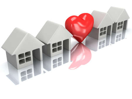 row of houses: Real estate, rent, building, home, love concept. Row of blank houses with red heart. 3d render icon. Stock Photo