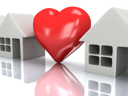 row houses: Real estate, rent, building, home, love concept. Row of blank houses with red heart. 3d render icon. Stock Photo