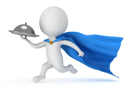 Brave superhero waiter with silver tray and blue cloak runs to quickly deliver meal under cloche or dome. Isolated on white 3d render. Delivery concept. photo
