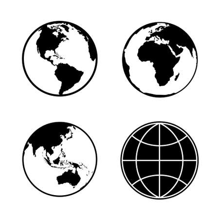 wereldbol: Set van planeet aarde globe web en mobiele pictogrammen. Vector.