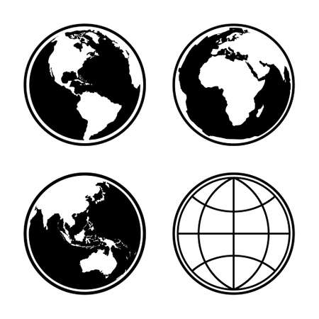 Set of earth planet globe web and mobile icons. Vector. Vettoriali