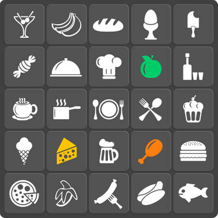 Set of 25 food vector web and mobile icons in flat design. Illustration