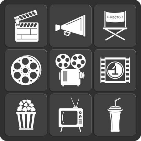 folding screens: Set of 9 cinema vector web and mobile icons