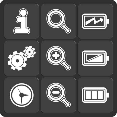 Set of 9 vector web and mobile icons in flat design. Vector