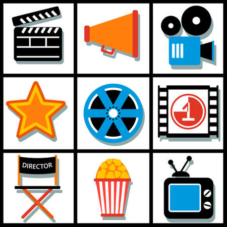 folding screens: Set of 9 cinema vector web and mobile icons in flat design. Illustration